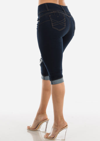 Butt Lifting Torn Dark Denim Capris
