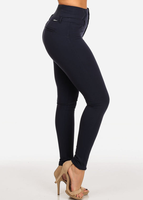 Stylish Fashionable High Rise 3 Gold Button Butt Lifting Levanta Cola Navy Skinny Pants