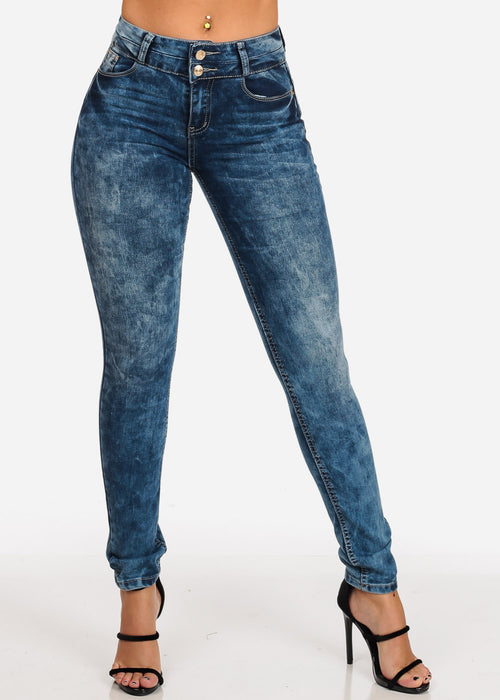 Women's Junior Ladies 2 Button Mid Rise Med Marble Wash Blue Skinny Jeans