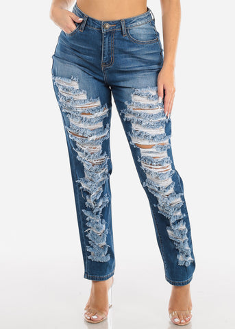 Torn High Waisted Boyfriend Jeans