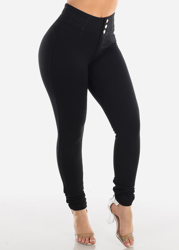Sexy High Waisted Solid Black Butt Lifting Levanta Cola Skinny Pants