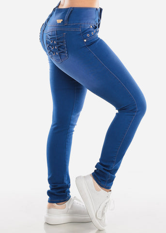 Mid Rise Blue Wash Butt Lifting Skinny Jeans