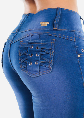 Image of Mid Rise Blue Wash Butt Lifting Skinny Jeans