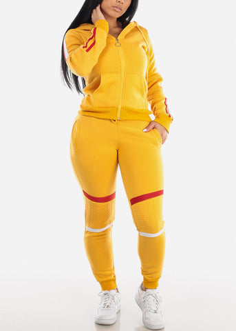 Yellow Zip Up Hoodie & Jogger Pants (2 PCE SET)
