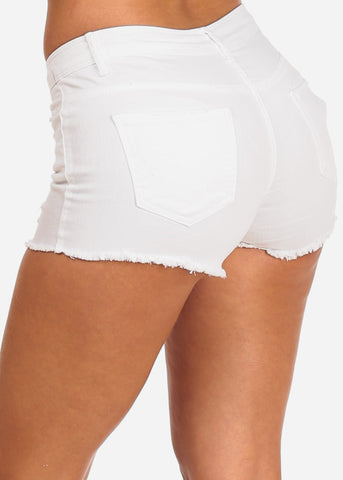 NINE PLANET Ripped White Denim Shorts