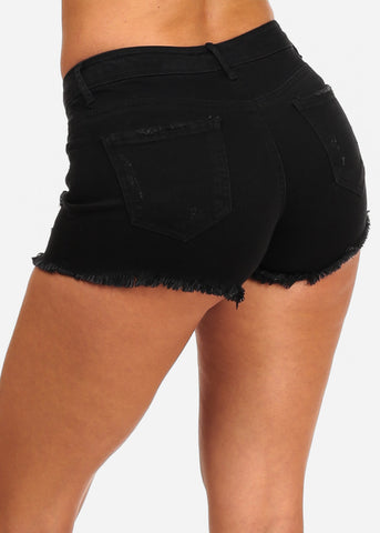 NINE PLANET Ripped Black Denim Shorts