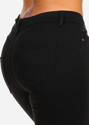 Image of Mid Rise Butt Lifting Black Skinny Pants