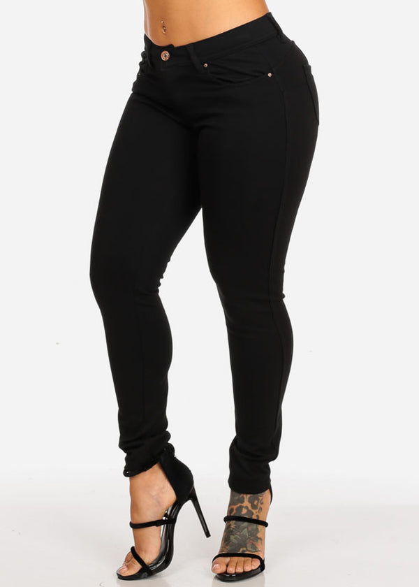 Mid Rise Butt Lifting Black Skinny Pants