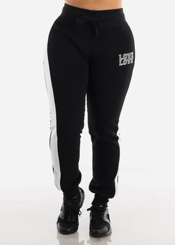 "Black Cropped Hoodie & Jogger Sweatpants ""Love"" (2 PCE SET)"