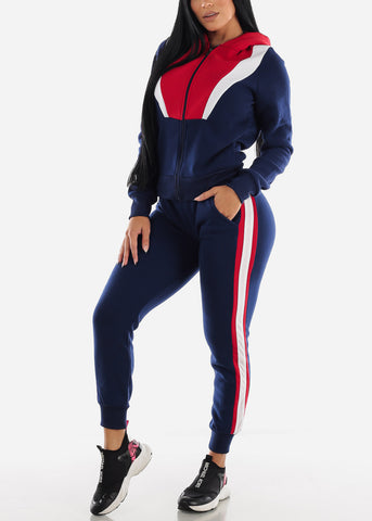 Image of Colorblock Navy Hoodie & Jogger Sweatpants (2 PCE SET)