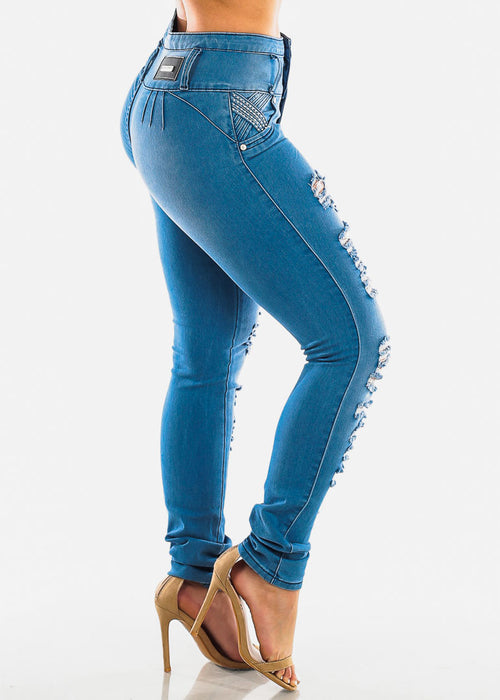 Levanta Cola Ripped Light Wash Skinny Jeans