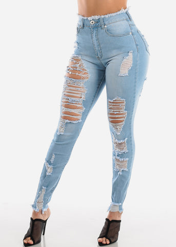 Ultra High Rise Light Wash Torn Skinny Jeans