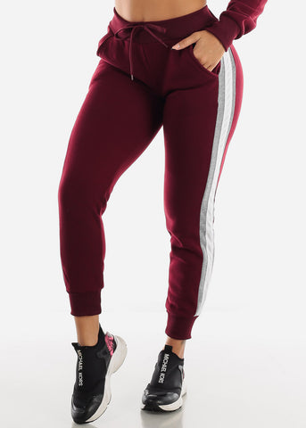 Image of Colorblock Burgundy Hoodie & Jogger Sweatpants (2 PCE SET)