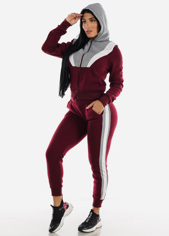Colorblock Burgundy Hoodie & Jogger Sweatpants (2 PCE SET)