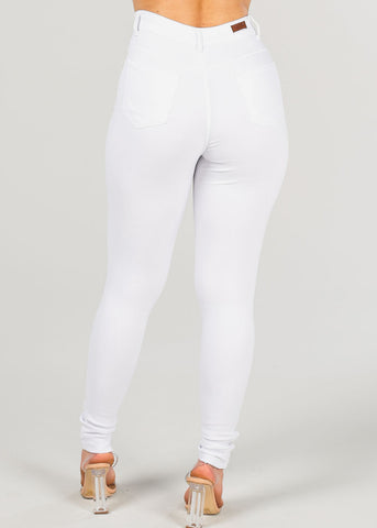 Women's Junior Ladies Sexy High Rise 1  Button Solid White Supper Stretchy Jegging Skinny Pants