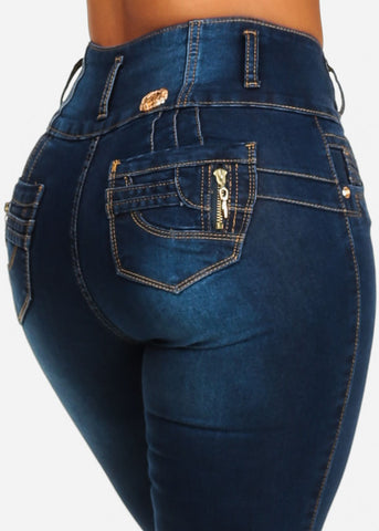 High Waisted Butt Lift Blue Skinny Jeans