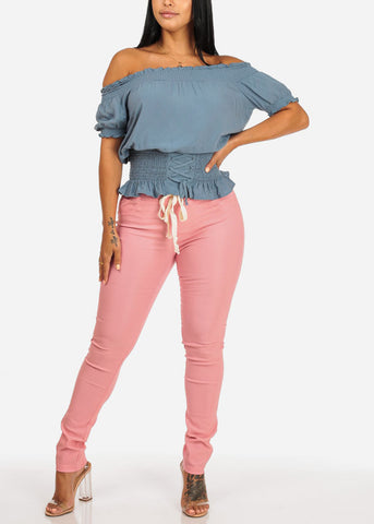 Mid Rise Blush Stretchy Skinny Pants