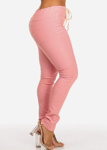 Image of Mid Rise Blush Stretchy Skinny Pants