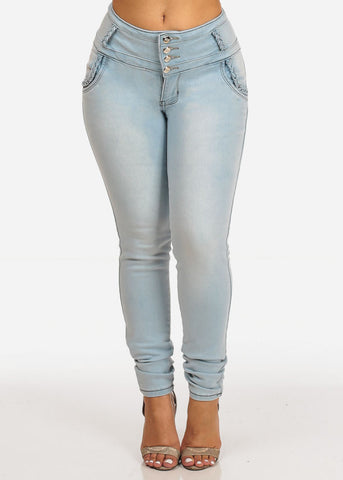 Image of Sexy Light Wash Mid Rise 4 Button Butt Lifting Skinny Jeans