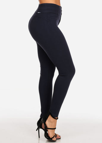Image of Women's Junior Ladies Sexy Must Have Going Out Stylish High Waisted Solid Navy Butt Lifting Levanta Cola Navy Skinny Pants