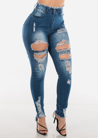 High Waisted Ripped Med Wash Skinny Jeans