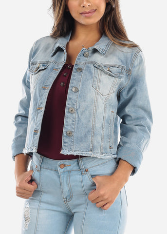 Frayed Light Wash Denim Jacket MD031LTBLU