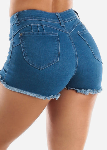 Image of Butt Lifting Light Wash Denim Shorts