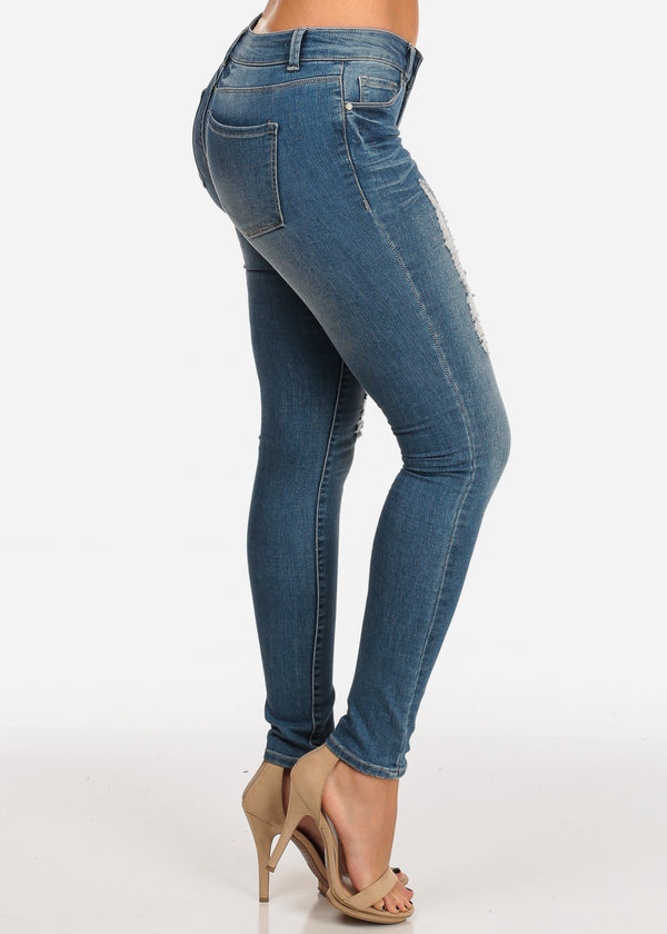 NINE PLANET Ripped Med Wash Skinny Jeans