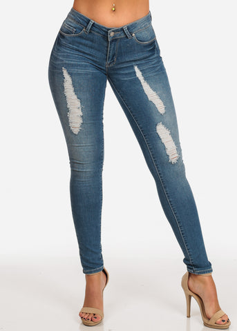 NINE PLANET Trendy Mid Rise Med Wash Distressed Skinny Jeans