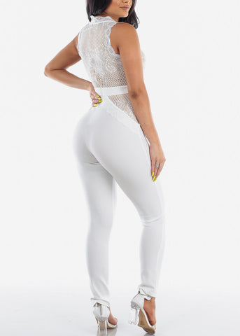Women's Junior Ladies Sexy Sleeveless Crochet Detail And Lace Up Detail Solid White Night Out Clubwear Jumper Jumpsuit