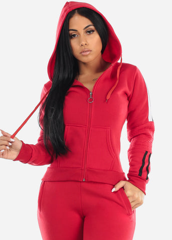 Red Zip Up Hoodie & Jogger Pants (2 PCE SET)