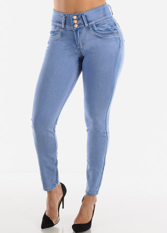 High Rise Butt Lifting Beach Wash Skinny Jeans
