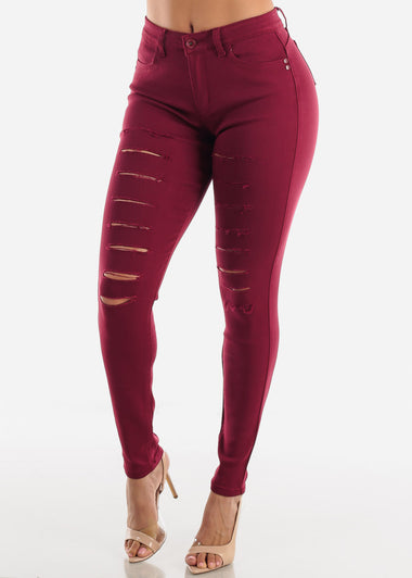 Torn Butt Lifting Burgundy Skinny Jeans