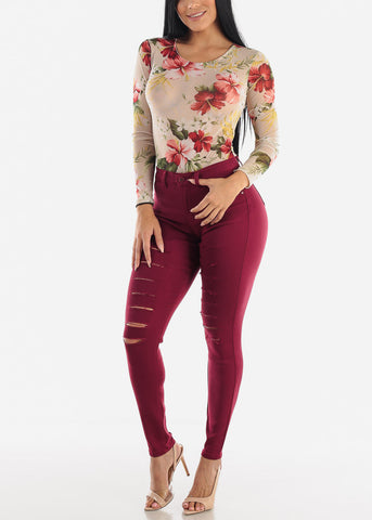 Image of Torn Butt Lifting Burgundy Skinny Jeans