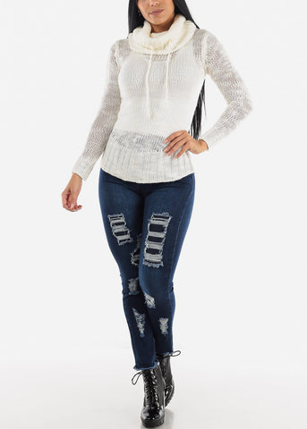 Image of Raw Hem Ripped Skinny Jeans