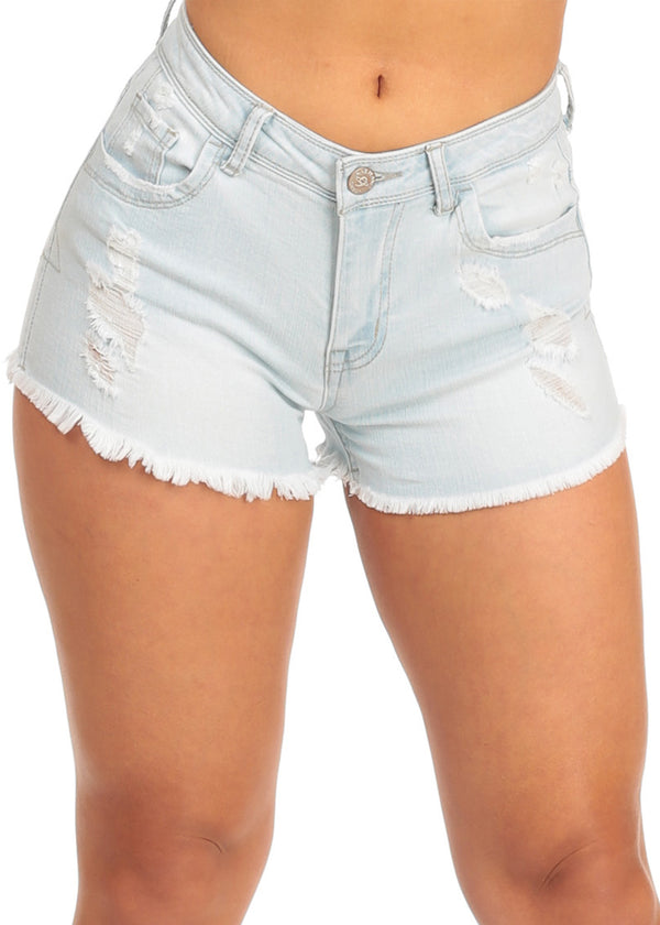 NINE PLANET Ripped blue Denim Shorts
