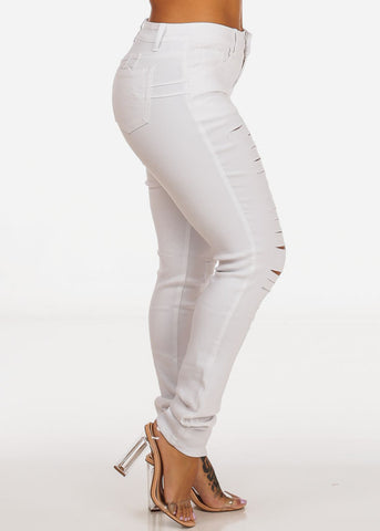 Butt Lifting Distressed White Skinny Jeans