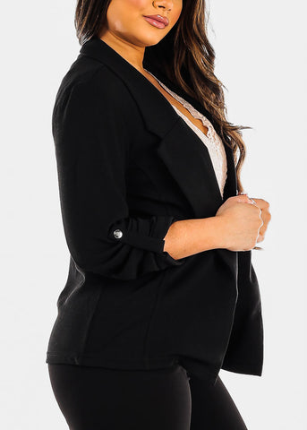 3/4 Sleeve Open Front Black Blazer