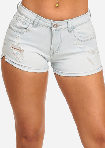 NINE PLANET blue Ripped Denim Shorts