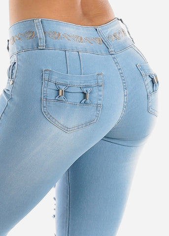 Image of Ripped Levanta Cola Light Wash Skinny Jeans