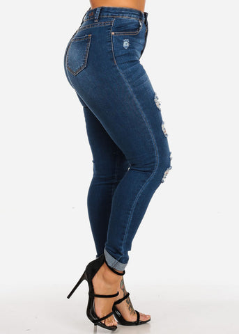 High Waisted Distressed Med Skinny Jeans