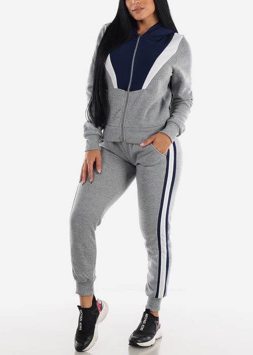 Colorblock Grey Hoodie & Jogger Sweatpants (2 PCE SET)
