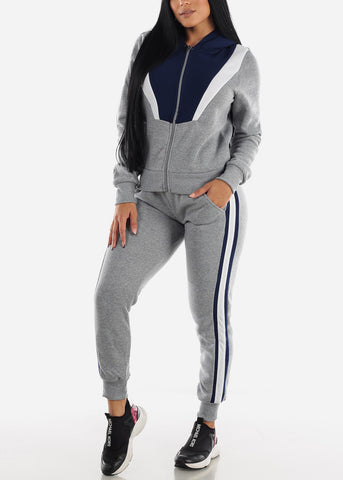 Image of Colorblock Grey Hoodie & Jogger Sweatpants (2 PCE SET)