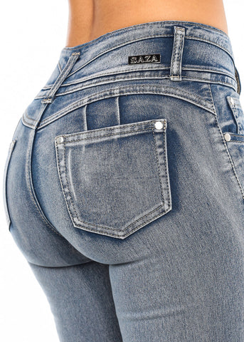 Butt Lifting Faded Torn Skinny Jeans