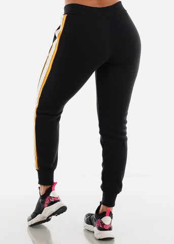 Image of Colorblock Black Hoodie & Jogger Sweatpants (2 PCE SET)