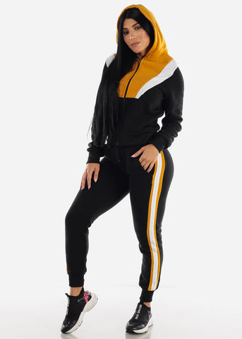 Colorblock Black Hoodie & Jogger Sweatpants (2 PCE SET)