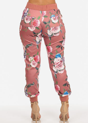Floral High Rise Mauve Jogger Pants