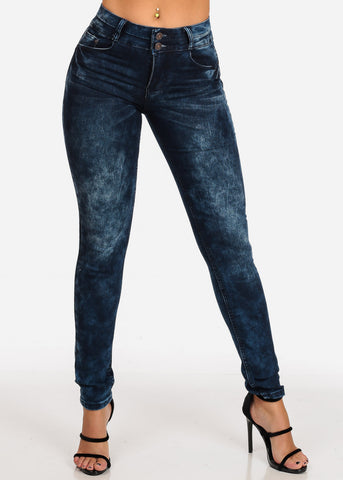 Image of Women's Junior Ladies 2 Button Mid Rise Dark Marble Wash Skinny Jeans