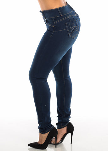High Rise Levanta Cola Dark Wash Skinny Jeans