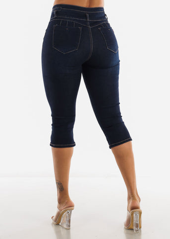 Dark Blue Butt Lifting Ripped Capris
